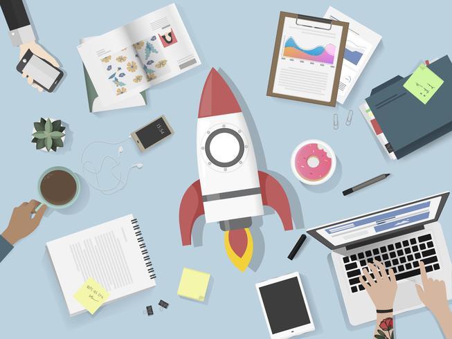 Illustratie van brainstorming commercieel team
