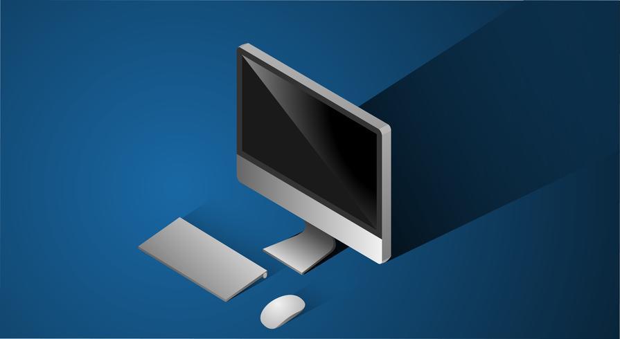 Illustration av isolerad dator