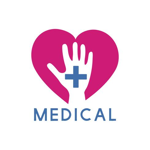 Blue and pink  medical care service logo vector
