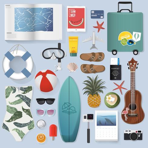 Ilustración de cosas de embalaje de verano