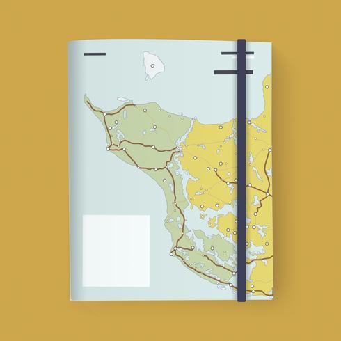 Dobrar, mapa, direção, ilustração, vetorial