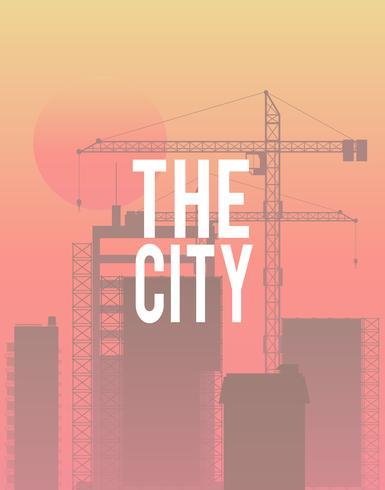 Ilustração, de, cidade, scape, com, construção, fundo
