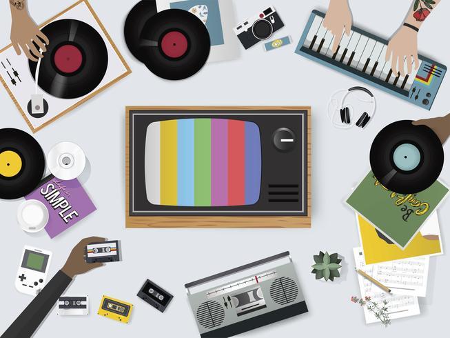 Ilustración de conjunto de cosas de entretenimiento de música vintage