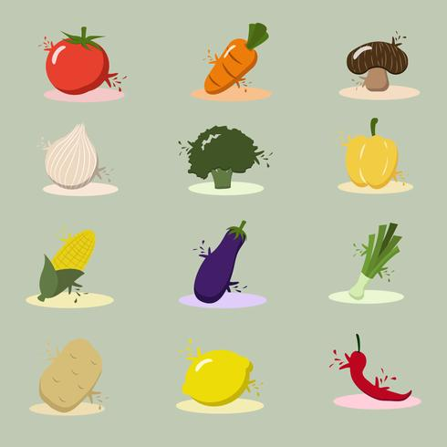 Ilustración de conjunto de vegetales