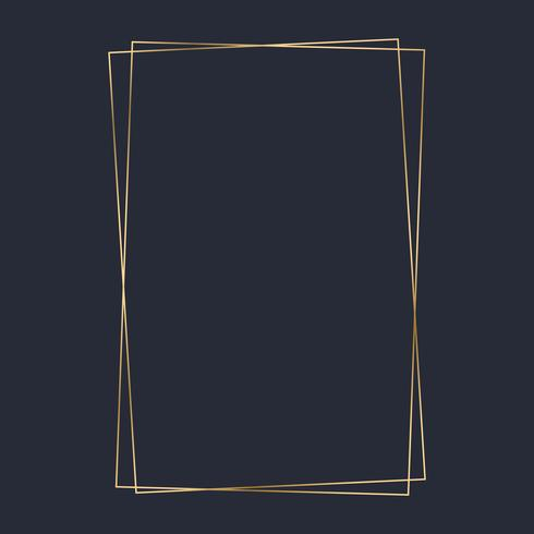 Vetor de modelo de quadro de retângulo dourado