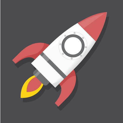 Raketenstart-Vektorillustration der Ikone grafische