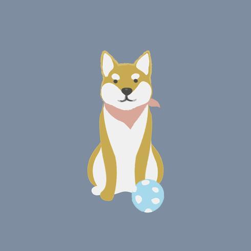 Cute illustration of a shiba inu dog