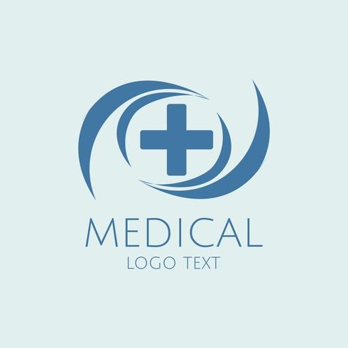 Vector de atención médica azul servicio logo