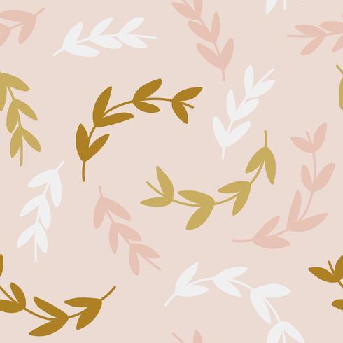 Patrón simple de ramas sobre fondo rosa