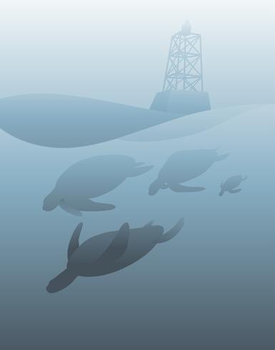 Illustratie van het onderwaterleven in zee