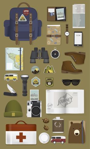 Ilustração, viajando, embalagem, jogo