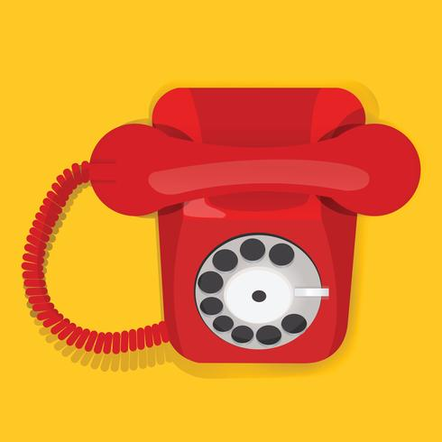 Rode Retro Uitstekende Telefoon Communicatie Pictogram Vectorillustratie
