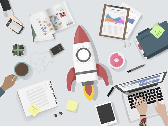 Ilustração da equipe de negócios de brainstorming