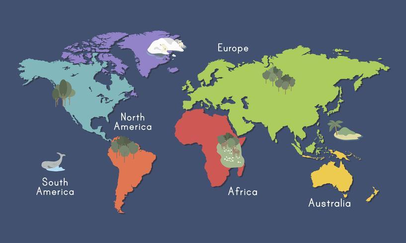 Ilustración del mapa del mundo aislado