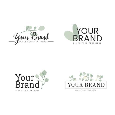 Grön och naturlig logotyp design set