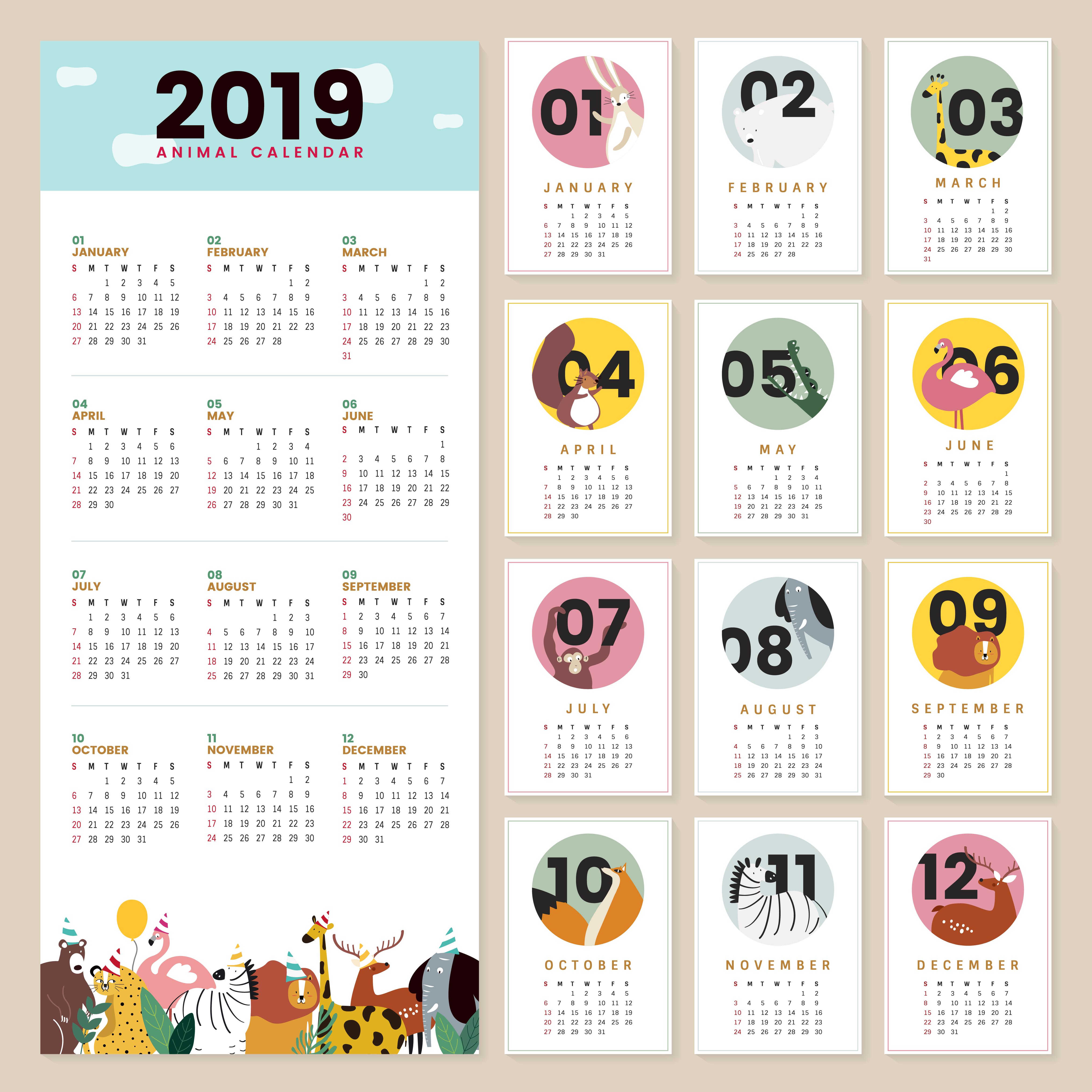 Cute Animal Calendar Mockup Download Free Vectors Clipart Graphics Amp Vector Art
