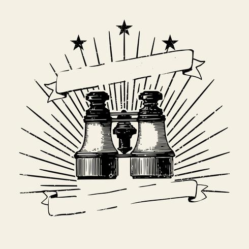 Antiga ilustração de crachá de binóculos