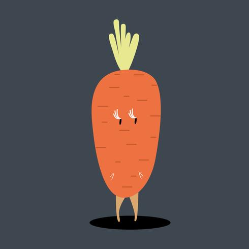 Organic carrot cartoon character vector