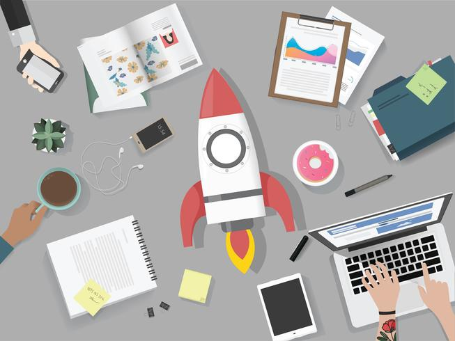 Illustration of brainstorming business team