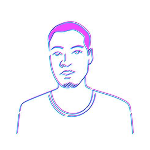 Ilustração, de, um, homem, isolado, branco, fundo