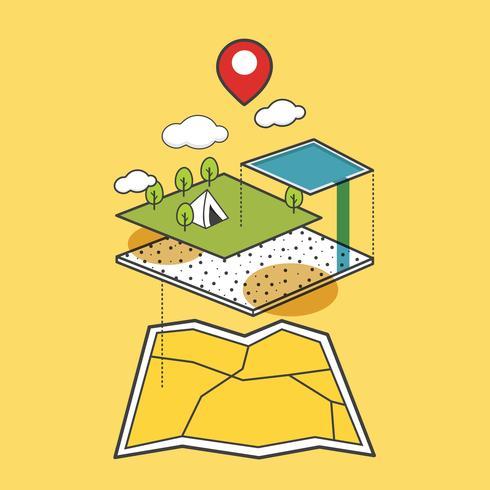 Ilustração, de, mapa