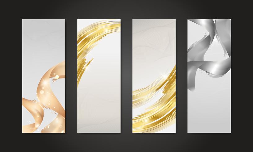 Metallic wave abstract background set