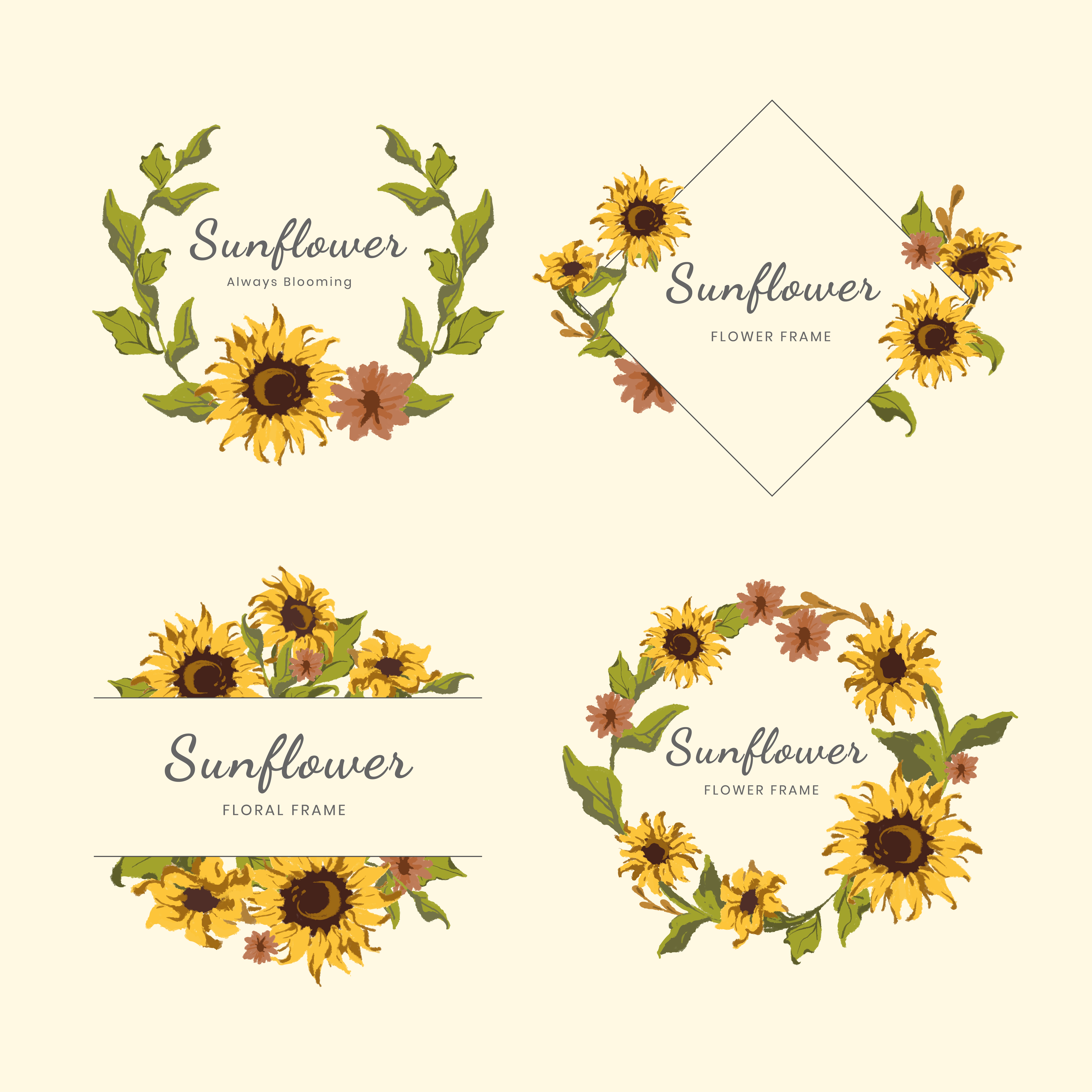 Sunflower wreath and badge vector set - Download Free ...