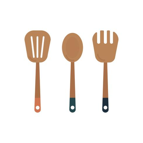 Three wooden cooking utensils graphic