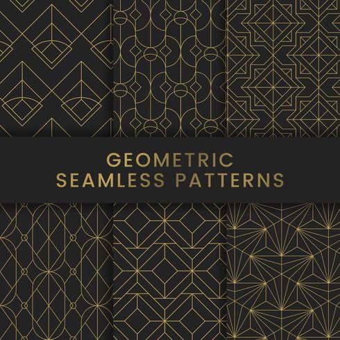 Golden geometric seamless patterns set on black background