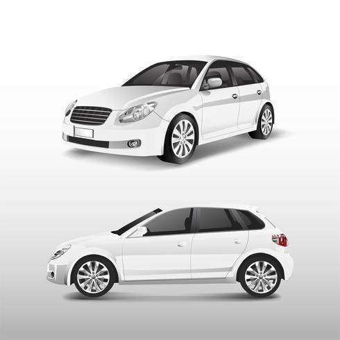 Vit hatchback bil isolerad på vit vektor