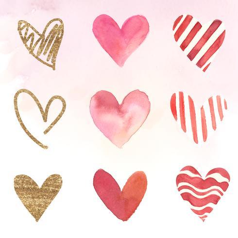 Hjärta ikoner akvarell illustration uppsättning