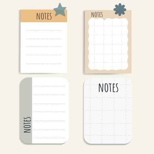 Colorido conjunto de bloc de notas