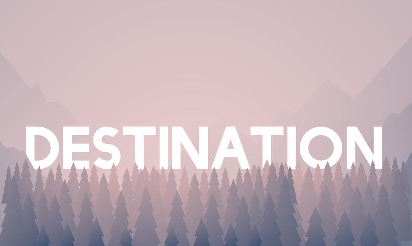 Palavra de destino na ilustração de fundo de madeiras