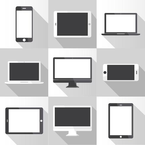 Illustration of digital devices isolated