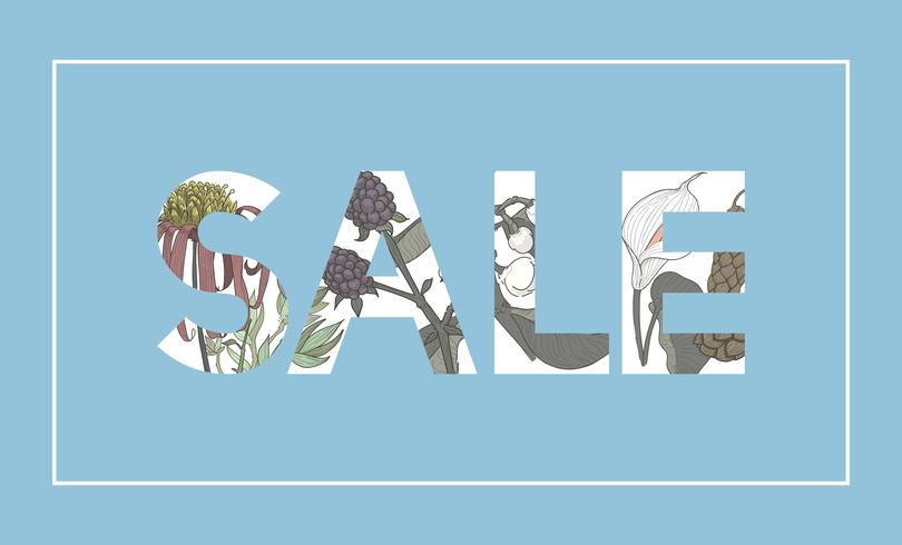 Illustration of sale word decorated with flowers