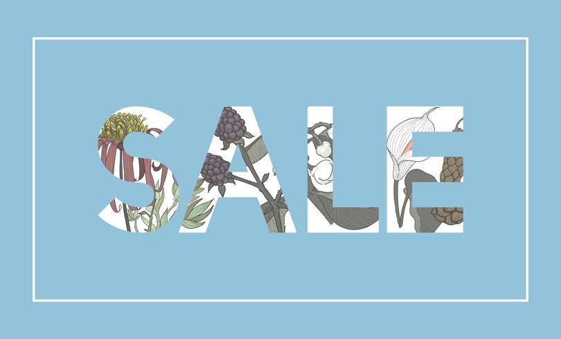 Illustratie van verkoopwoord dat met bloemen wordt verfraaid