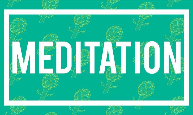 Illustration of meditation word on green background