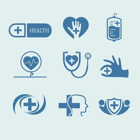 Medicinsk service logotyper vektor uppsättning