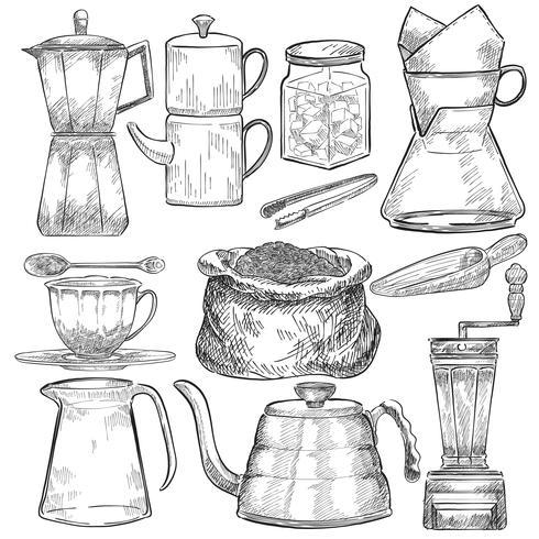 Conjunto ilustrado de herramientas para hacer café.