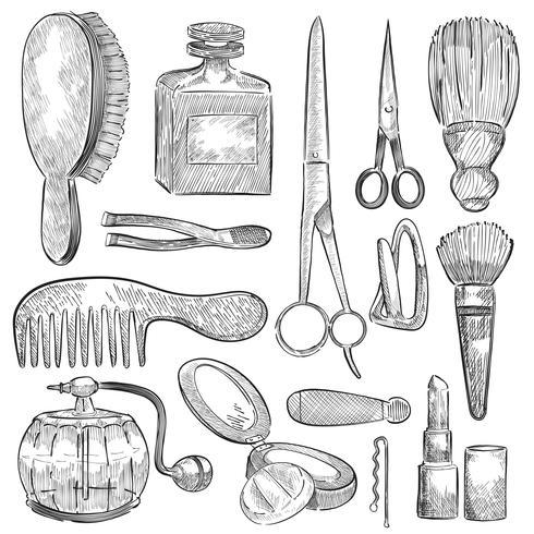 Illustration d'un ensemble d'outils de beauté