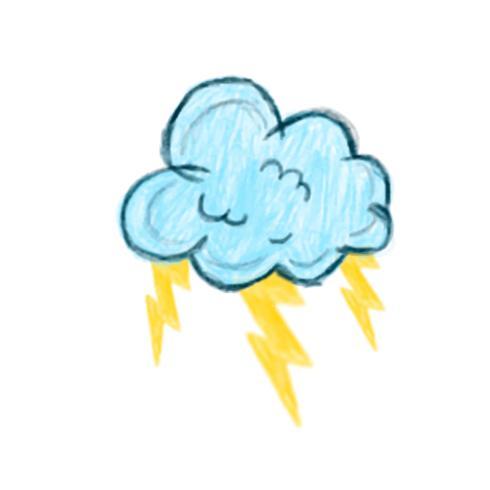 Ilustração do ícone de nuvem de trovão mão desenhada isolado no fundo branco