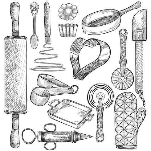 Illustration av en uppsättning köksredskap