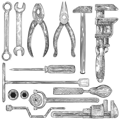 Illustration of a set of mechanic tools