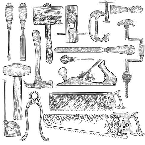 Illustration av en uppsättning snickare verktyg