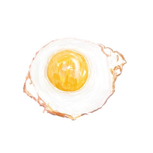 Illustration of hand drawn fried egg icon isolated on white background