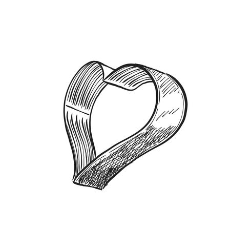 Vintage illustration of a heart shaped cookie cutter