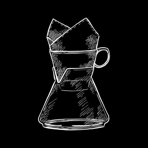 Illustrazione d'epoca di una caffettiera