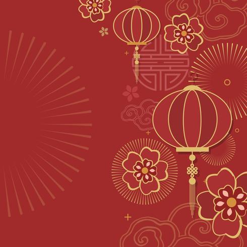 Kinesisk nyårsmockup illustration