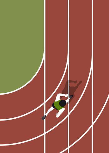 Vista aérea de una pista de atletismo.