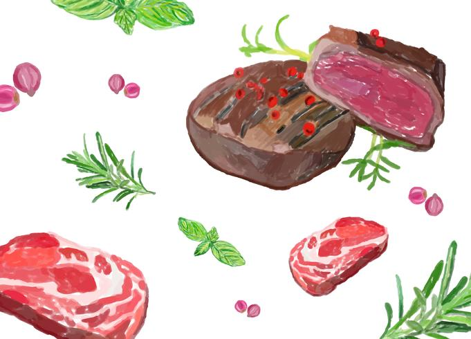 Hand drawn steak watercolor style